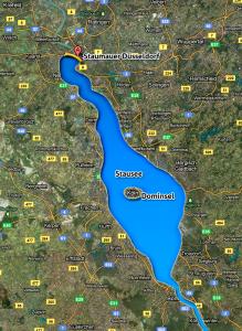 Im Kern des Energiekonzepts steht der Bau eines gigantischen Wasserkraftwerks in Urdenbach südlich des Benrather Schlossparks.