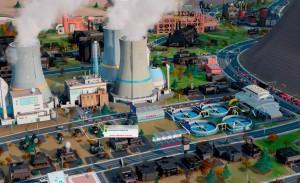 SimCity – Screenshot mit Atomkraft und Nissan LEAF