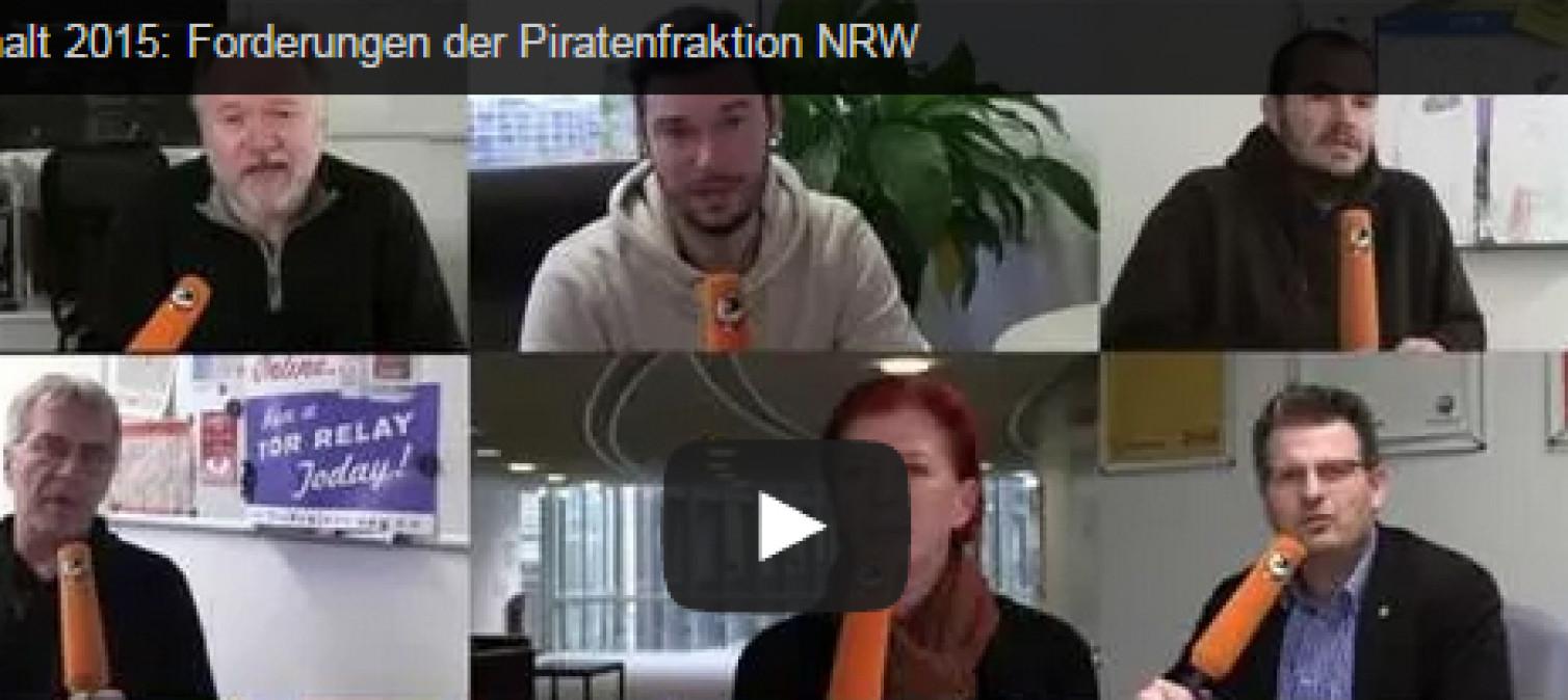 Was fordert die Piratenfraktion für den Haushalt 2015?