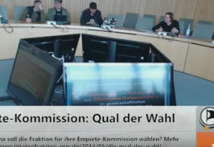 Präsentationen und Diskussion zu den möglichen Themen der Enquete-Kommission von Piraten