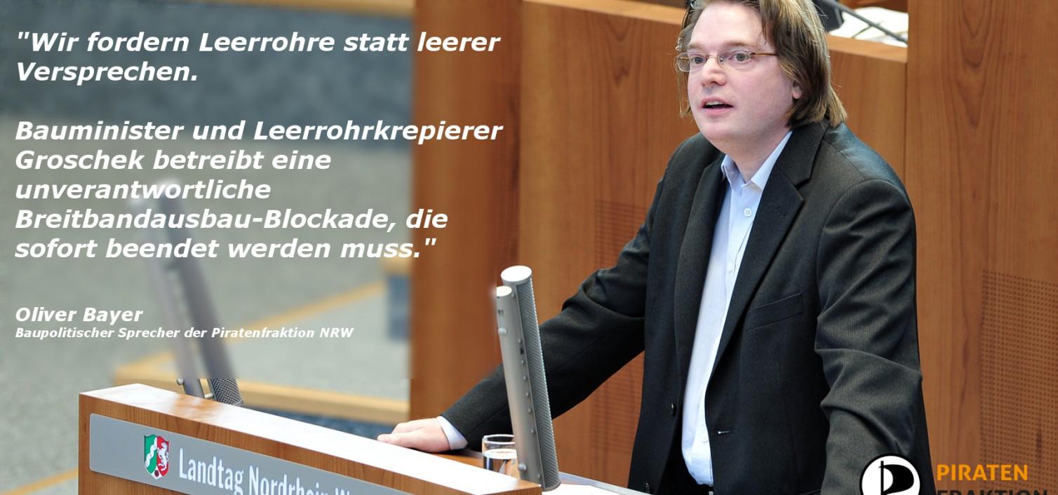 Rede: Leerrohre statt leerer Versprechen: Breitbandausbau-Blockade von Bauminister Groschek beenden; Zukunft mitdenken und einbauen.