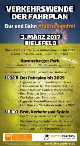 """Veranstaltung """"Verkehrswende, Der Fahrplan"""" am 3. März 2017 in Bielefeld, Ravensberger Park."""